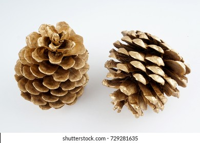 gold pinecone. golden Christmas decoration. isolated on white background.