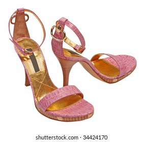 gold pink shoes
