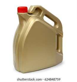 Gold plastic gallon, jerry can isolated on a white background