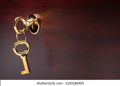 gold plated keys in the castle of luxurious furniture