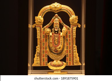 Gold plated Lord Venkateswara with gems