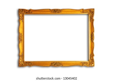 gold plated wooden picture frame over white background with drop shadow