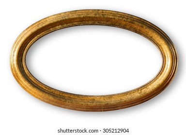 Gold plated wooden picture frame isolated on white with clipping path