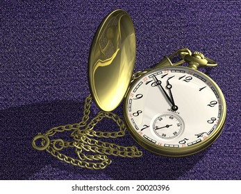 Gold pocket hours with a chain on the equal surface covered with a fabric.