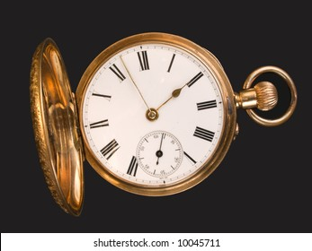 Gold pocket watch with open hunter case