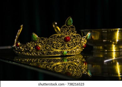 Gold Princess crown with semiprecious stones. The reward for winning a contest.