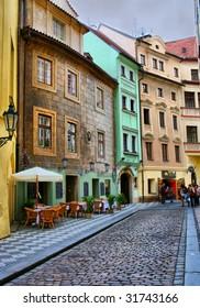 Gold quaint street Prague