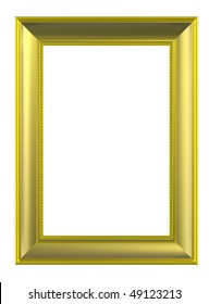 Gold rectangular frame isolated on white background. Computer generated 3D photo rendering.