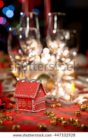 Gold Red Christmas Table Decoration Dim Stock Photo Edit Now