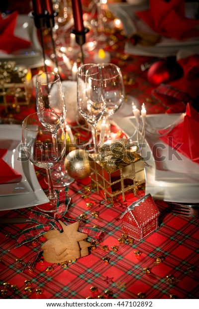 Cool Gold Red Christmas Table Decoration Dim Stock Photo Edit Download Free Architecture Designs Grimeyleaguecom