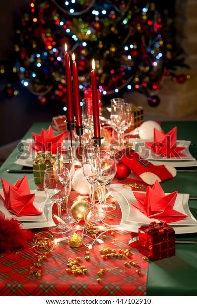 Super Gold Red Christmas Table Decoration Dim Stock Photo Edit Download Free Architecture Designs Grimeyleaguecom