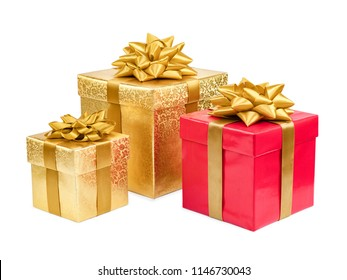 Gold and red gift boxes on white background.