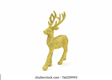Gold reindeer christmas on the white background.
