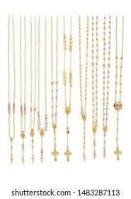 Gold religious rosary necklaces isolated