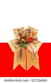 Gold ribbon with bow on white background.