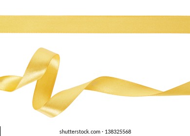 Gold ribbon set on white, clipping path included