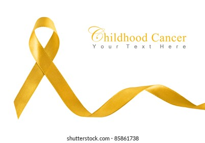 Gold Ribbon a Symbol of Childhood Cancer with copy space