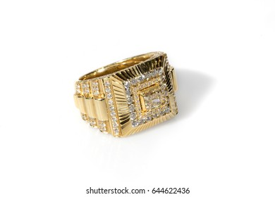 Gold ring with diamonds for men
