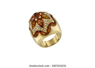 Gold ring with hyacinth isolated on white background