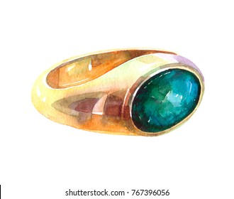 gold ring  luxury decoration Watercolor  illustration isolated on white background
