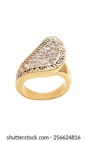 gold ring with an ornament on a white background