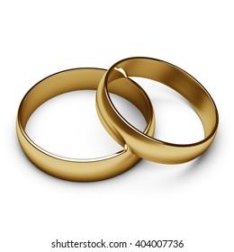 gold rings. 3D rendering