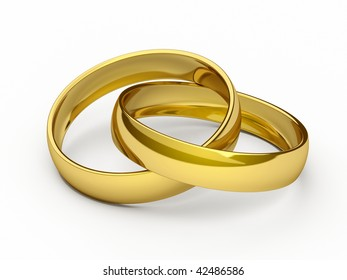 Gold rings.  High resolution 3d render.