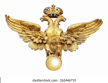Gold Russian eagle on white background
