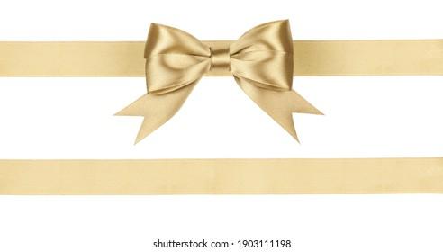 Gold satin ribbon fabric bow isolated on white background.