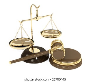 Gold scales and auction hammer. Objects over white