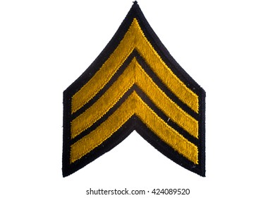 Gold Sergeant Stripes with white background.