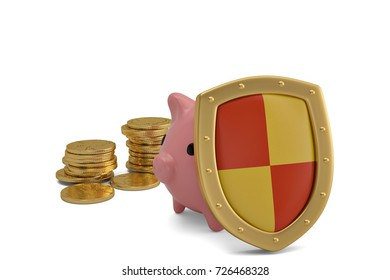 Gold shield and coins with piggy bank on white background.3D illustration.