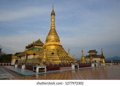 The gold shining She San Daw Pagoda in Ye, Myanmar.