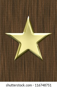 Gold shiny star on wood background