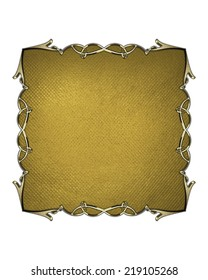 Gold sign with golden frame on white background. Design template. Design site