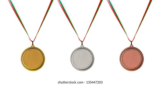 Gold, Silver and Bronze blank medals isolated on white