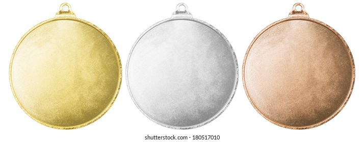 Gold, silver and bronze blank medals set isolated with clipping path