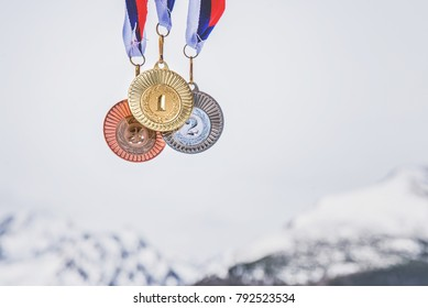 Gold, silver and bronze medal, sport winter trophy.