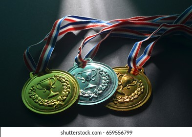 Gold, Silver and Bronze medal. Studio shoot with creative lighting