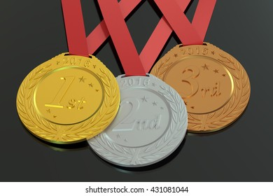 Gold, Silver and Bronze medals 2016, 3D rendering isolated on black background