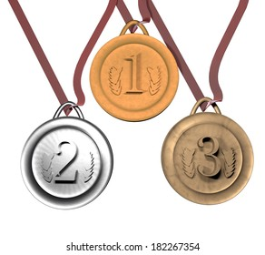 Gold, silver and bronze medals over white, 3d render