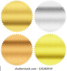 gold, silver and bronze seals or medals isolated with clipping path included