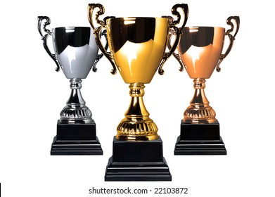 Gold Silver and Bronze trophies isolated on a white background