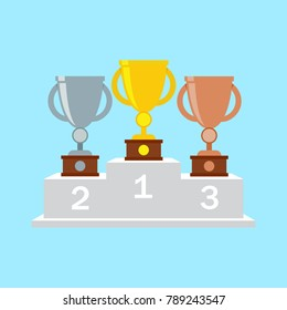 Gold, silver and bronze trophy cup on pedestal.  1st, 2nd, 3rd place. Handing awards to winner.