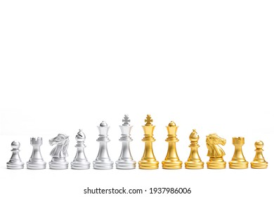 Gold and Silver chess pieces in six different types used on chessboard to play the game of chess. king, queen, bishop, knight, rook, pawn isolated on white background