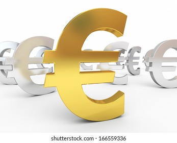 Gold and silver euro sign (isolated on white and clipping path)