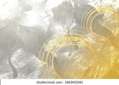 Gold and silver Japanese paper and brush writing background material  - Shutterstock ID 1863452581