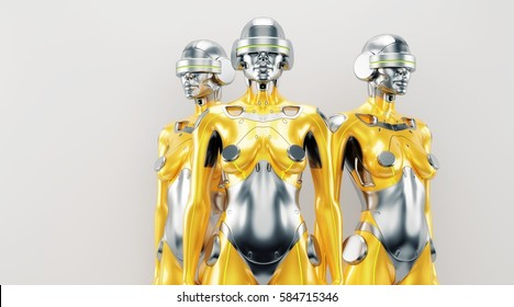 Gold and silver robot woman trio, 3d rendering