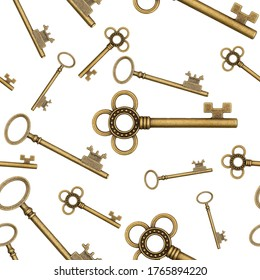 Gold skeleton key background that is repeat and seamless that is repeat with different types