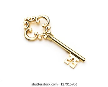 Gold Skeleton Key isolated on white background